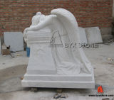 China White Marble Weeping Angel Carving Monument
