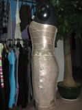 Robes de hanche de module d'estampage d'or de tube de Sequin de Bodycon Bridemaid