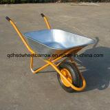 Wheelbarrow galvanizado Wb6418 da bandeja do aço inoxidável