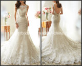 Vestido de casamento nupcial da sereia completa de Vestidos do vestido de casamento do laço do Neckline (L15351)