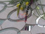 黄褐色のカラーガラス組合せの水晶ウォータージェットのモザイク(CFW49)