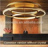 Novo design Modern Large Copper Round Ring K9 Crystal Chandelier for Luxury Lighting