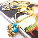 De Reeks van de Juwelen van de Manier van de Halsband van de Tegenhanger van de Bloem van het Kristal van de gouden-toon & van de Legering van Oorringen