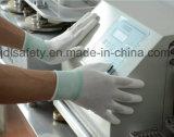Gant en nylon blanc de travail avec la paume d'unité centrale enduite (JDL003)