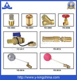 Válvula de ángulo de cobre amarillo de la calefacción con la maneta (YD-3007)