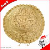 Chapéu natural do disco flexível do chapéu de palha do Raffia