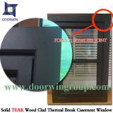 Acristalamiento doble cristal de madera de aluminio Ventana interior, barra fija en el vidrio de la ventana de madera de aluminio