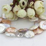 Collar colorido de la perla de la moneda del AA 20m m del collar de la perla de la manera