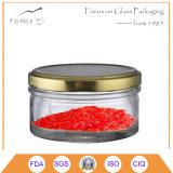 vaso di vetro del caviale 195ml con la protezione del metallo, contenitore del caviale, vasi d'inscatolamento del caviale