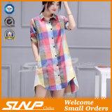 De vêtement de chemise de chemise de coton de toile de mode de femmes demi