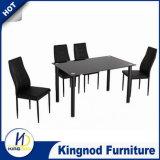 Дешевые стеклянные алюминиевые черные обедая таблица и стулы