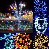 Zonne Kerstmis steekt het Blauwe 50 LEIDENE Licht van het Koord voor Huis aan Openlucht