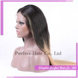 머리 2 음색 Ombre 유럽 색깔 긴 레이스 가발