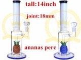AnanasのPercの白いヒスイ煙る水ガラスの管