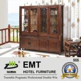 Cabinet en bois de vin de porte en verre de salle de séjour (JZ-C-3003)