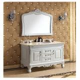 Vanité antique de salle de bains en bois solide avec le miroir