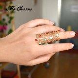 Joyería simple llena de múltiples capas de la manera de los anillos de dedo del Oro-Color rojo del Rhinestone