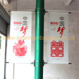 旗システム(BS-BS-001)を広告している金属の街灯ポーランド人