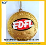 締縄、金張り、砂吹きを持つサッカー連盟のためのカスタマイズされたメダル