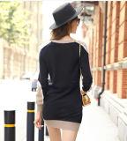 Vestido da caxemira das mulheres com garganta redonda (13brdw066)