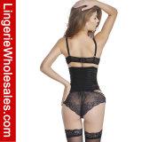 女性のセクシーな網はウエストのCincherによって骨を抜かれたUnderbustの透過Bustierコルセットを縞で飾った