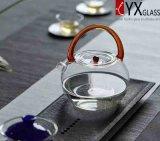 800mlガラスハンドルまたはガラスのやかんまたはガラス水やかんが付いている耐熱性ホウケイ酸塩ガラスのティーポット