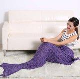 人魚のテール毛布(74.86X35.46インチ)、子供および大人のための暖かく、柔らかい編まれた人魚毛布を家へ帰らないため
