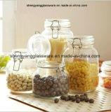4PC Hogar de cristal de almacenamiento simple Jar Set con tapa de cristal