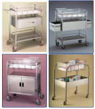 Thr Stainless Steel Bassinet Trolley com Berço