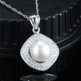 100% 925 collane d'acqua dolce naturali reali eleganti della perla dell'argento sterlina grandi per le donne/signore/ragazze