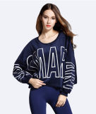 Spring Outside Navy Blue Loose Women Fleece, sweat-shirt d'impression