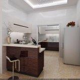 光沢度の高い材木のベニヤの現代デザイン食器棚