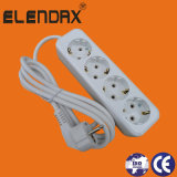 4 socket de la cuerda de extensión del estándar 2 Pin+Earth 16A de Schuko de la manera con el cable 3X1.5 milímetro Sq con el enchufe de Schuko (E8004E)