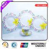 Factory New Design Round Color Circle 12PCS Porcelaine Dinnerset