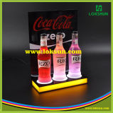 Présentoir acrylique clair de bouteille avec l'éclairage LED