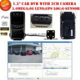 """Nouveau 1.5 """"Full HD1080p Car DVR avec 5.0mega CMOS, enregistreur double caméra, GPS Tracking Route, WDR, vision nocturne, détection de mouvement DVR-1511"""