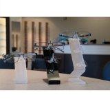 Carrinho de indicador acrílico plástico desobstruído de giro das cremalheiras dos óculos de sol da cremalheira
