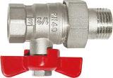 Válvula de esfera de bronze do gás da linha masculina com niquelar