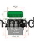 marca della scanalatura dell'interruttore di pulsante di 22mm con rosso/verde/colore giallo