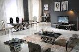 Tavolino da salotto dell'acciaio inossidabile di vetro Tempered del nero di stile dei 2017 lussi