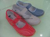 Señora Leather Casual y cuña cómoda con sandalias de las mujeres del Velcro