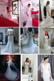 Платье венчания сногсшибательной V-Шеи Половин-Втулок шнурка полнометражное