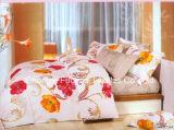 Materia textil casera determinada teñida llana colorida de base de Microfiber del modelo de flor del lecho determinado barato de la hoja
