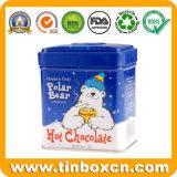 Caja cuadrada de chocolate, lata de chocolate, lata de comida
