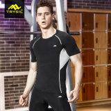 Tapas activas de la gimnasia de la funda del cortocircuito de la camisa de la compresión de los hombres