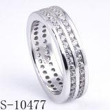 Ringen van de Band van de Ring van het Kanaal van de Juwelen van de manier de Echte Zilveren