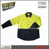 Длинняя рубашка 100% хлопка рубашки работы втулки Hi Viz с стандартом CSA Z96