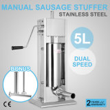 presse à deux vitesses commerciale verticale de viande d'acier inoxydable du Stuffer 15lb de la saucisse 5L