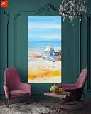 Het met de hand gemaakte Olieverfschilderij van de Horizon van de Kust van de Kunst van de Muur van het Beeldverhaal