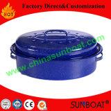 De blauwe Ovale Grill van het Email van het Koolstofstaal van de medio-Grootte van de Kleur Met Rek